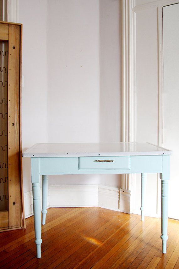 Etsy - 1930's refinished table in robin's egg blue. enamel top. SO CUTE! $400