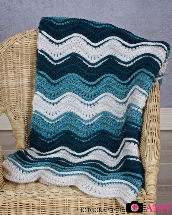 Crochet Ocean Wave : PDF CROCHET PATTERN Ocean Waves Blanket by FrayedKnotbyJonna