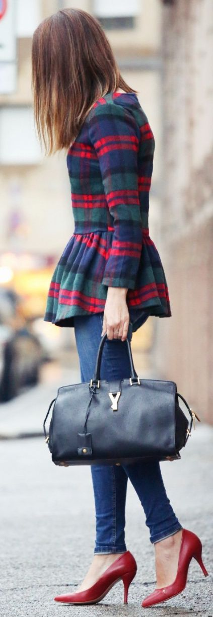 Plaid peplum + distressed denim + handbag.