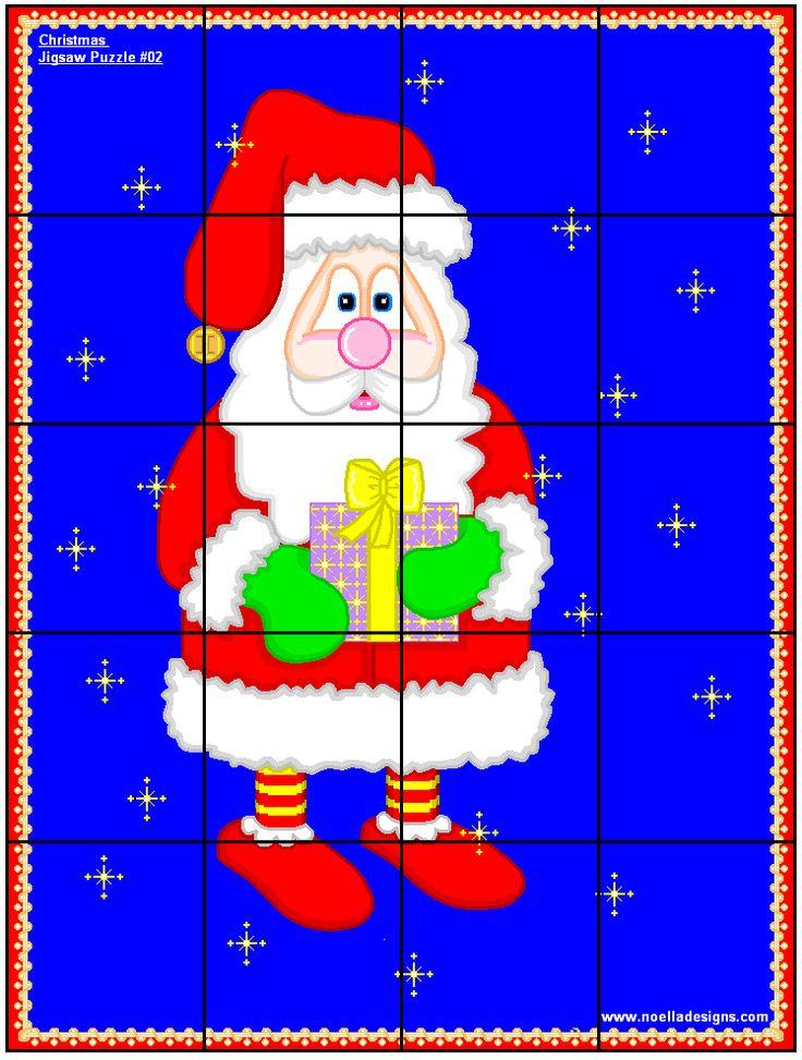 printable santa jigsaw puzzle | Christmas | Pinterest