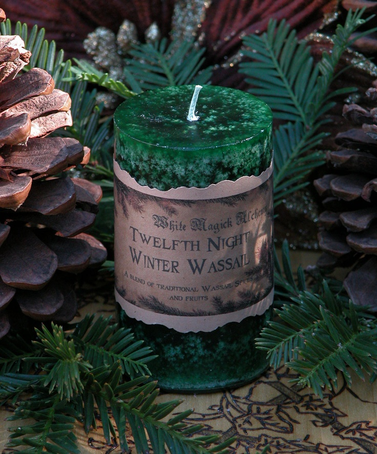 Winter Wassail . Twelfth Night Holiday Pillar Candle 2x3 . Traditional ...