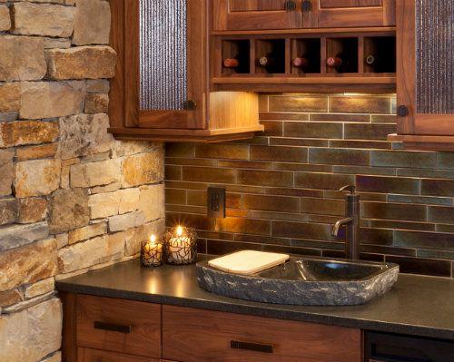 Pin by sara s antonacci on cabin pinterest for Log cabin kitchen backsplash ideas