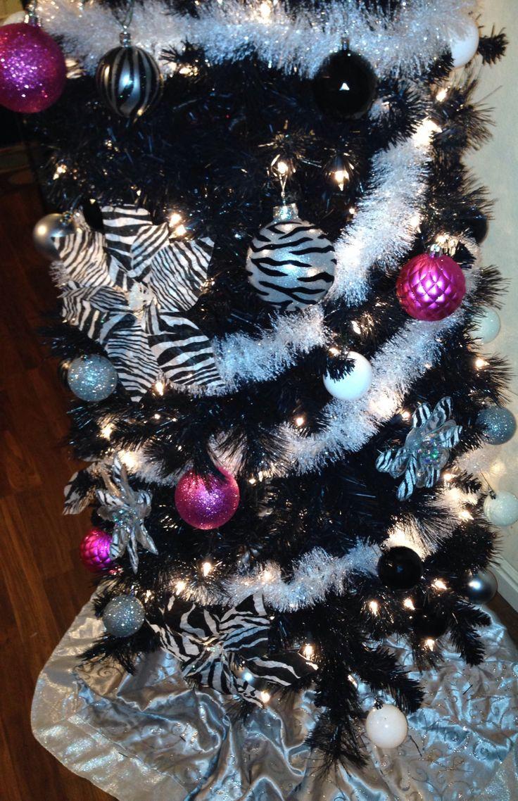 Zebra/Hot Pink Christmas tree | Hot pink and Zebra print Christmas ...