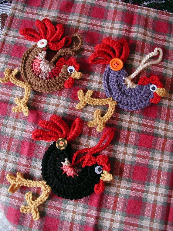 Show Me How To Crochet : Little Crocheted Roosters Crochet/ Knitting Pinterest