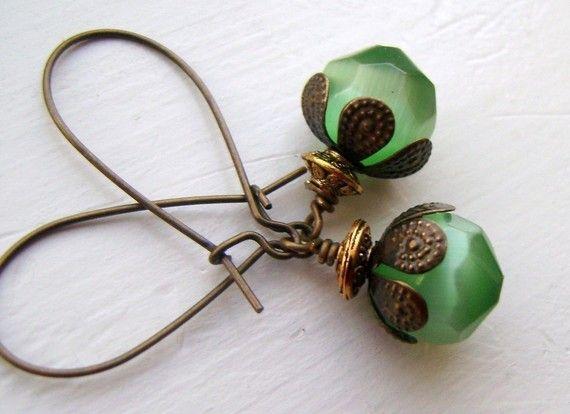 green dangle earrings, etsy