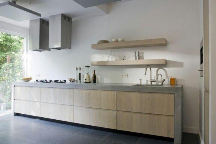 Keuken Greeploos Hout : keuken met hout en beton Keuken Pinterest