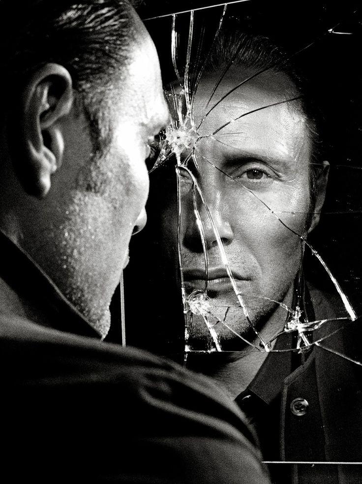 Broken mirror reflection mads mikkelsen pinterest for Reflection miroir