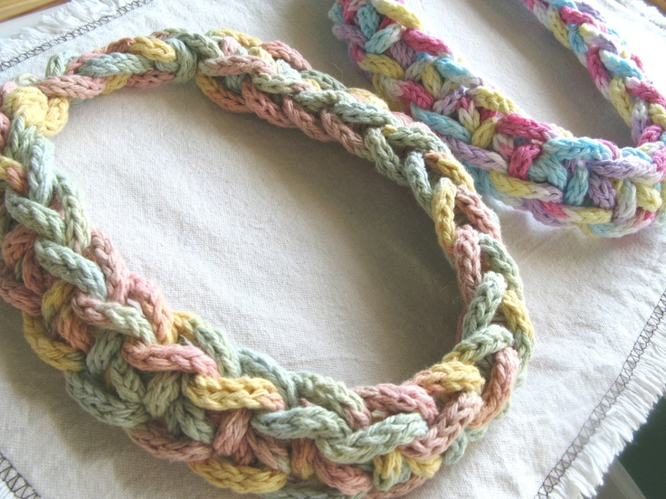 Yarn Necklace Pattern Knit Crochet Collar pdf Chunky. $4.00, via Etsy.