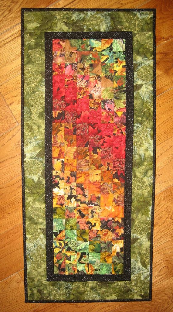 Art quilt autumn leaves fabric wall hanging for Fabric wall art