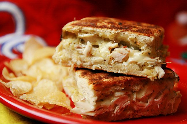 Turkey Pesto Panini - perfect way to use up leftover turkey. Or just ...