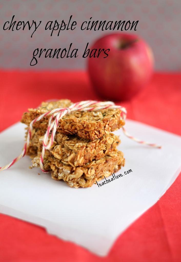Chewy Apple Cinnamon Granola Bars. | Fooood | Pinterest