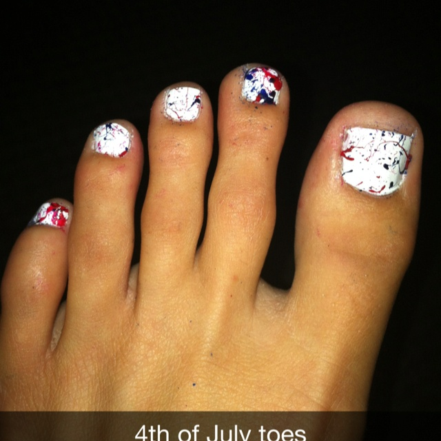 4th of july nail art toes