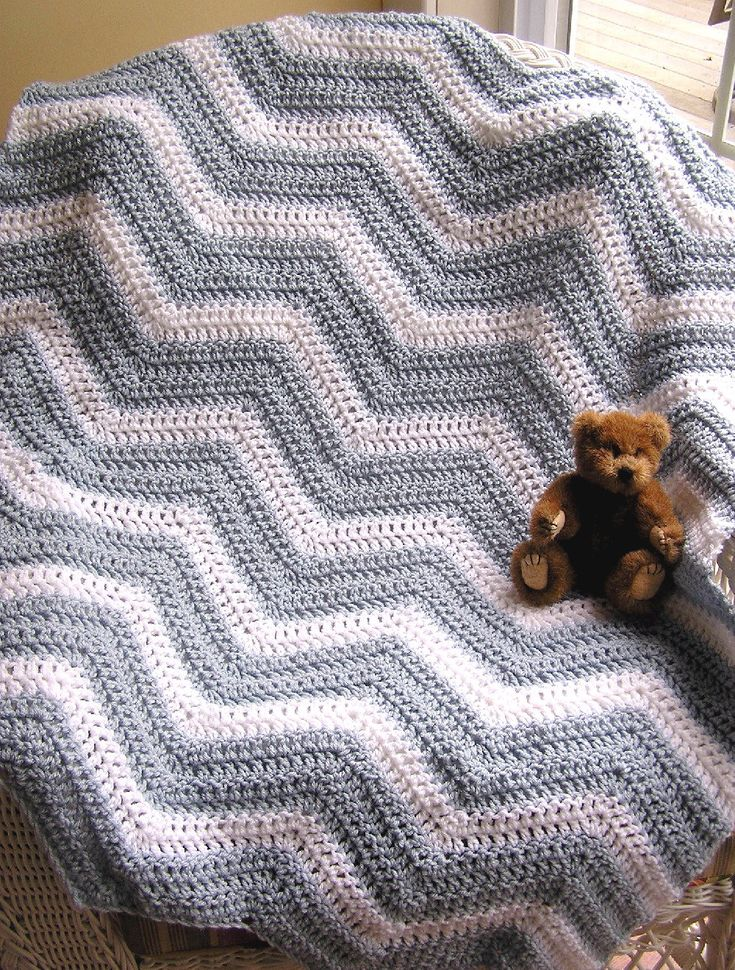 chevron zig zag baby blanket afghan wrap shawl crochet knit toddler c ...