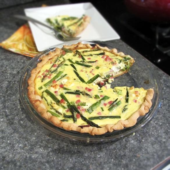 Asparagus, ham, and goat cheese quiche | cuisine | Pinterest