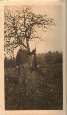 Antique photograph man with gun holding turkey buzzard by wing Selling on ebay