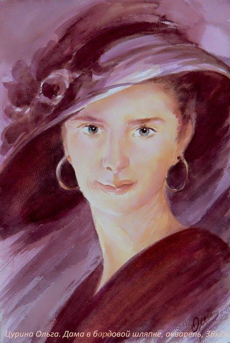 Портрет дамы в бордовой шляпке ...: pinterest.com/pin/450148925224377144