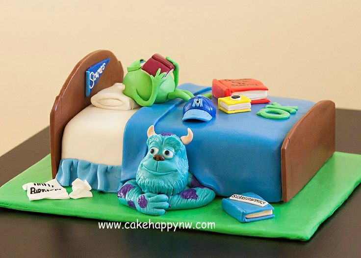 """Monsters University"" - Loved making this cake for a Monsters University themed birthday party for a little boy! Everything is made by hand and from scratch!"