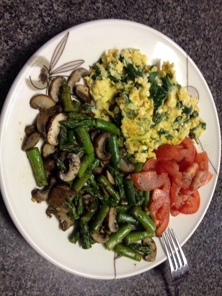 ... scrambled eggs with feta amp spinach sautéed asparagus amp mushrooms