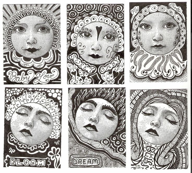 zentangle faces