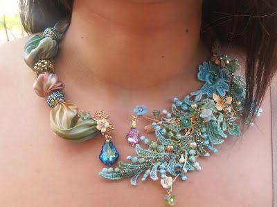 Shibori silk, beads and lace applique!
