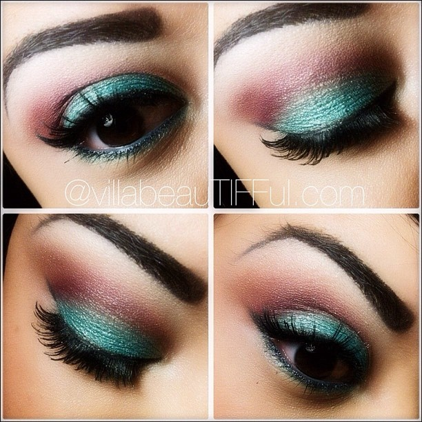 teal and brown/purple eye makeup