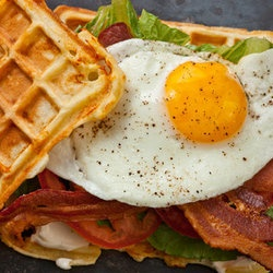 Savory Cheddar Waffle BLT with Egg — Punchfork