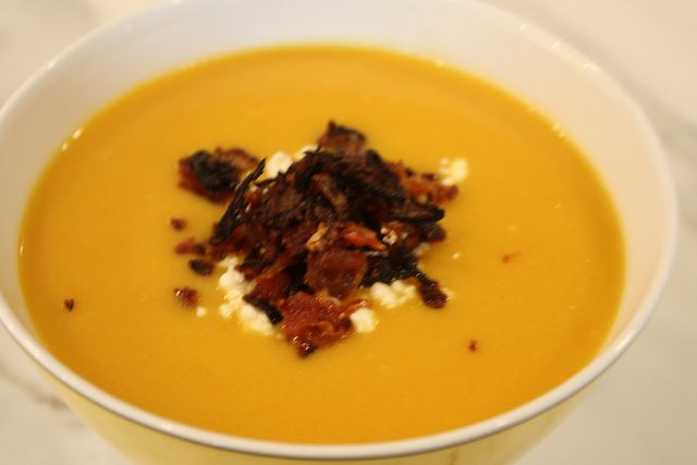 Cauliflower Carrot Soup with Goat Cheese, Bacon and Crispy Shallots