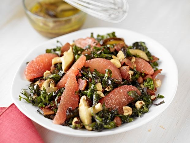 Kale & Grapefruit Salad with Warm Bacon-Wild Mushroom Dressing at This ...