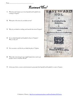 Jamestown Colony and the New World Primary Source Play With Worksheet