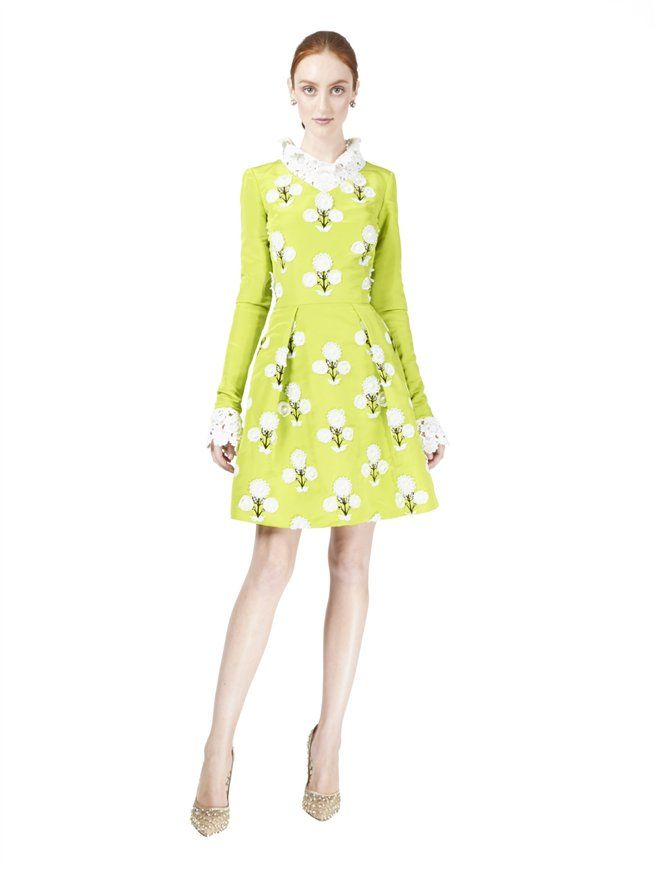 FLORAL EMBELLISHED DRESS WITH LACE COLLAR & CUFFS Oscar de la Renta