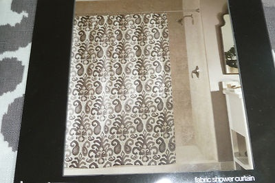 Studio M IKAT PLUME Fabric Shower Curtain Coffee Brown Tan Gray Taupe