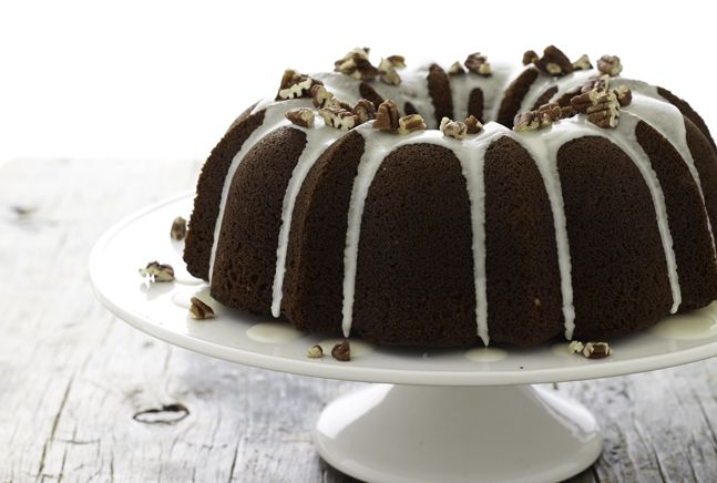 Molasses Spice Bundt Cake with Bourbon Pecan Glaze | Recipe