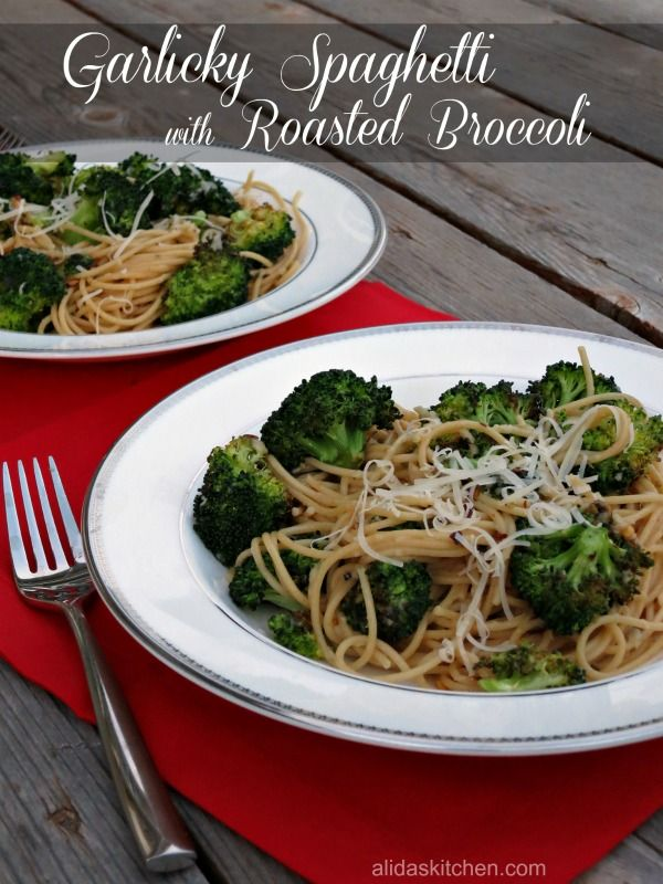 Garlicky Spaghetti with Roasted Broccoli | Recipe