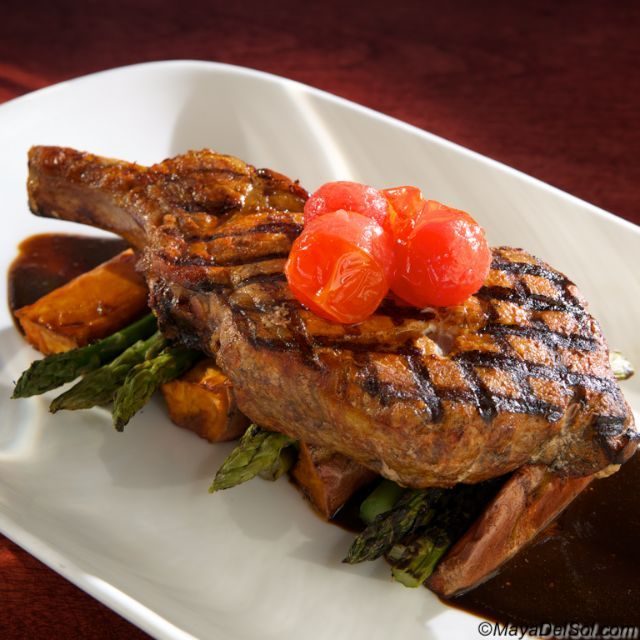 ... oz. pork chop· sweet potato · asparagus · balsamic fig-sage sauce