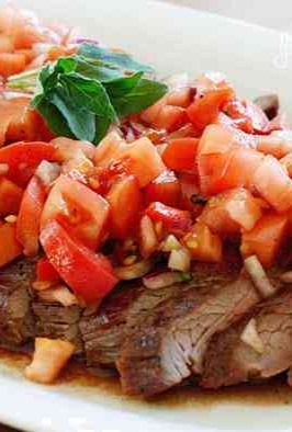 Grilled Flank Steak With Tomatoes, Red Onion and Balsamic | Recipe