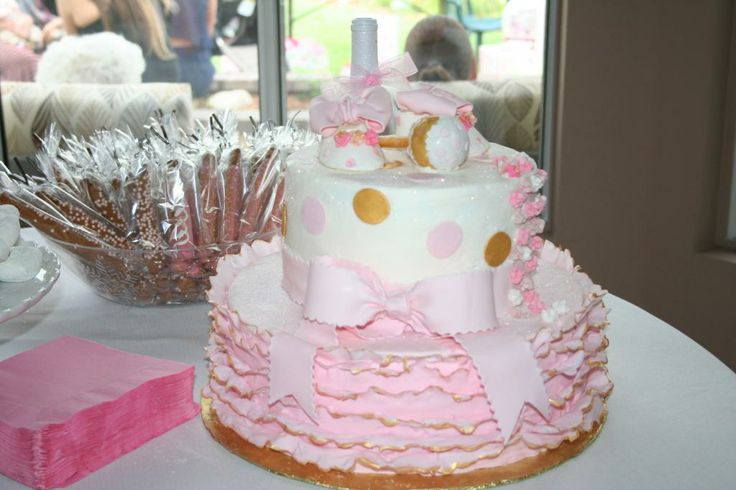 pink and gold baby shower cake baby shower pinterest