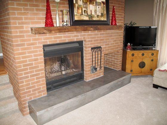 polished concrete step/hearth | fireplace and bar ideas ...