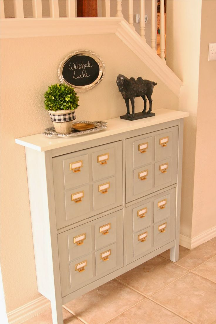 Faux Library Card Catalog Console Hacked from Ikea Hemmes Shoe Cabinet. DIY instructions on how to make it from Windgate Lane.