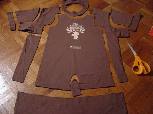 Old T shirts into baby clothes.