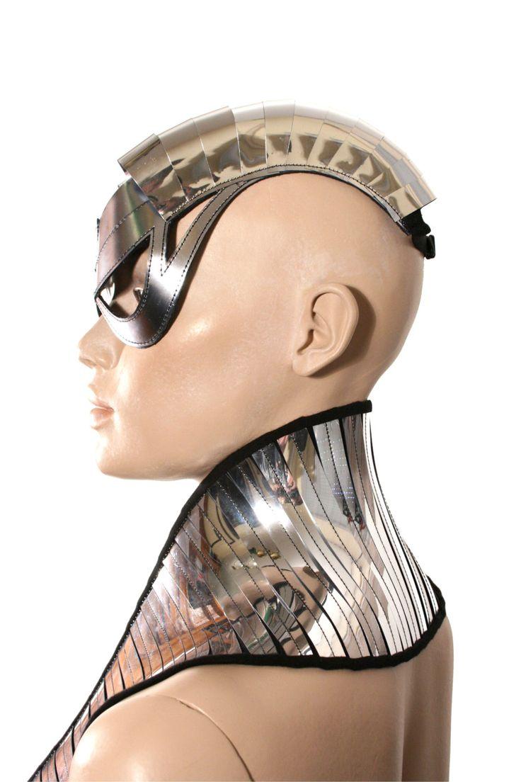cyborg goggles with horns futuristic, sci fi, cyber eyewear, mask,burning man goggles,baphomet mask. $125.00, via Etsy.