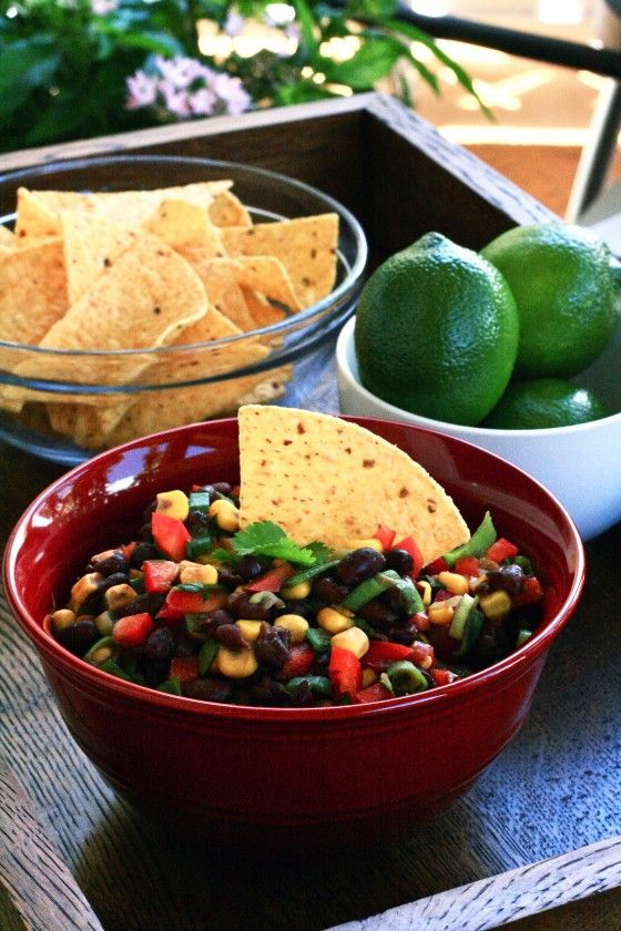 corn and black bean salsa--this stuff is easy, healthy, and yummy.