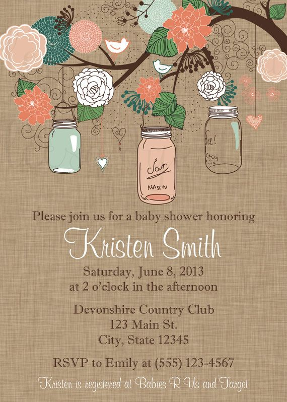 mason jar baby shower invitation coral and green on kraft mason jar