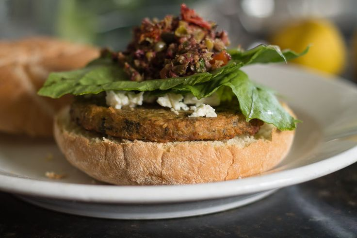 Mediterranean Chickpea Burger with Olive Tapenade and Feta | Recipe