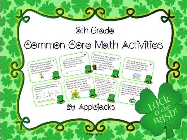 St. Patrick's Day Math Activities - 5th Grade on Teacher Pay Teacher ...