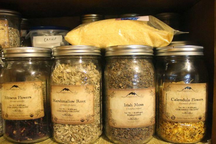 Herbs, raw ingredients in jars | Retail location | Pinterest
