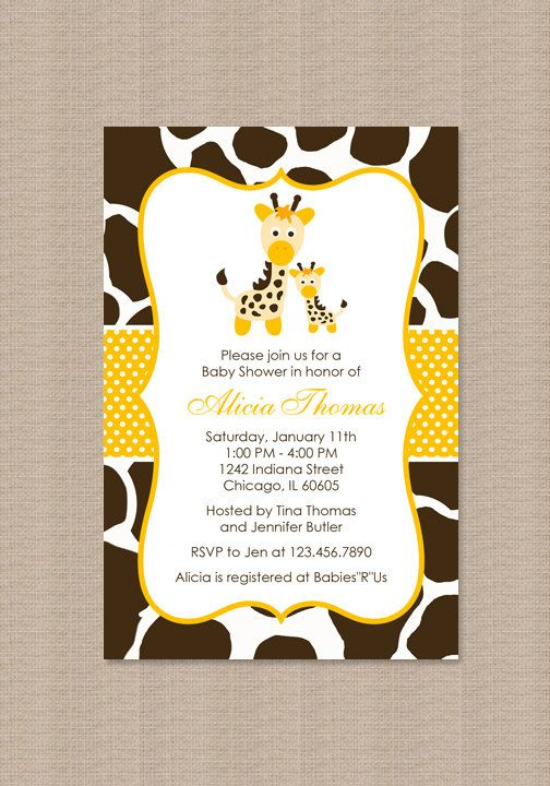 yellow giraffe baby shower invitations by honeyprint on etsy