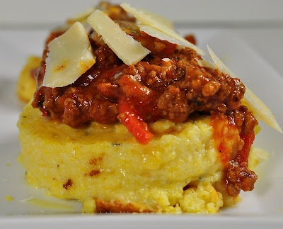 Quick Bolognese Sauce with Polenta Cakes
