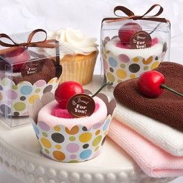 As Low As $1.56 #wedding #favors Add vibrant colors and a cheerful tone to your table decor while providing family and friends with a useful home-inspired event favor when you use Chocolate, Strawberry and Vanilla Wash Cloths in Cupcake Packages.