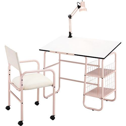 Student 3 Piece Desk Chair And Lamp Value Bundle Set Pink