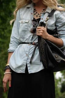 belted chambray shirt and black maxi skirt.